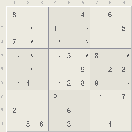 sudoku and candidate Simple sudoku takes the approach of giving you all the cell candidates and leaving it up to you the solver.